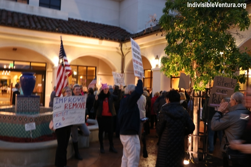 Outside Julia Brownley's Heathcare Town Hall - pro-ACA signs abound!
