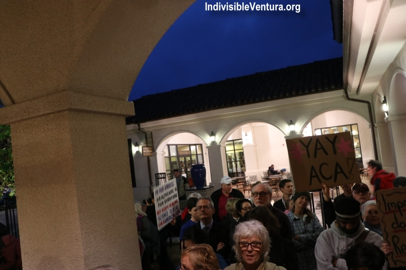 YAY ACA outside Julia Brownley's Town Hall