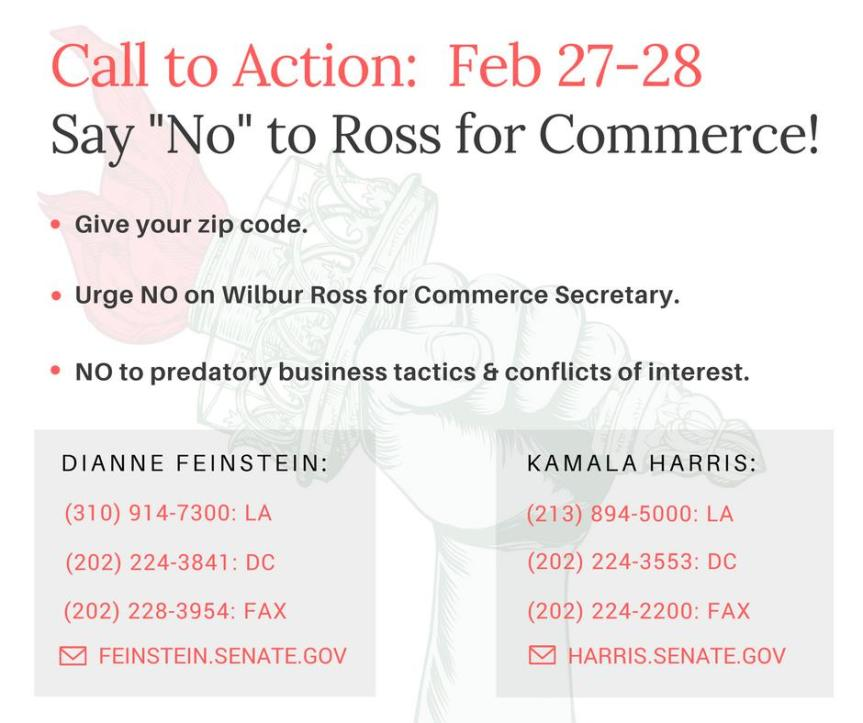No on Wilbur Ross for Commerce Secretary: Call Senators Feinstein / Harris