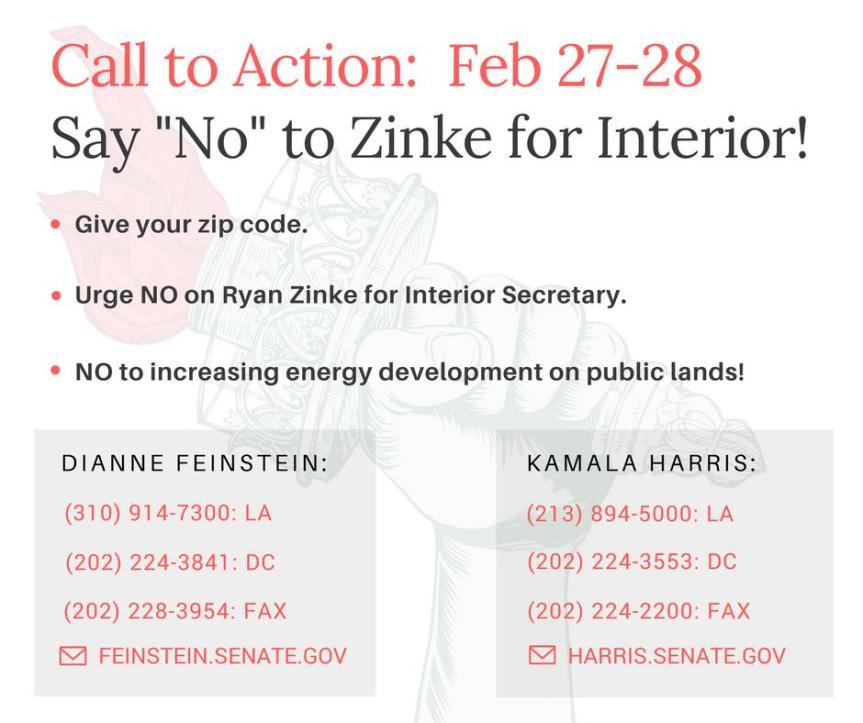 No on Ryan Zinke for Interior Secretary