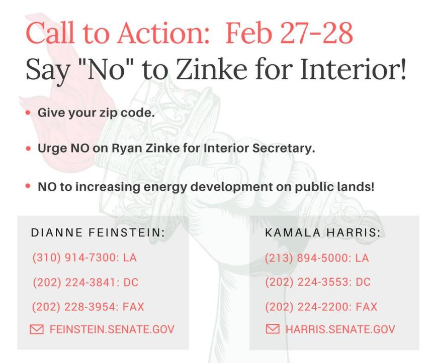 No on Ryan Zinke for Interior Secretary