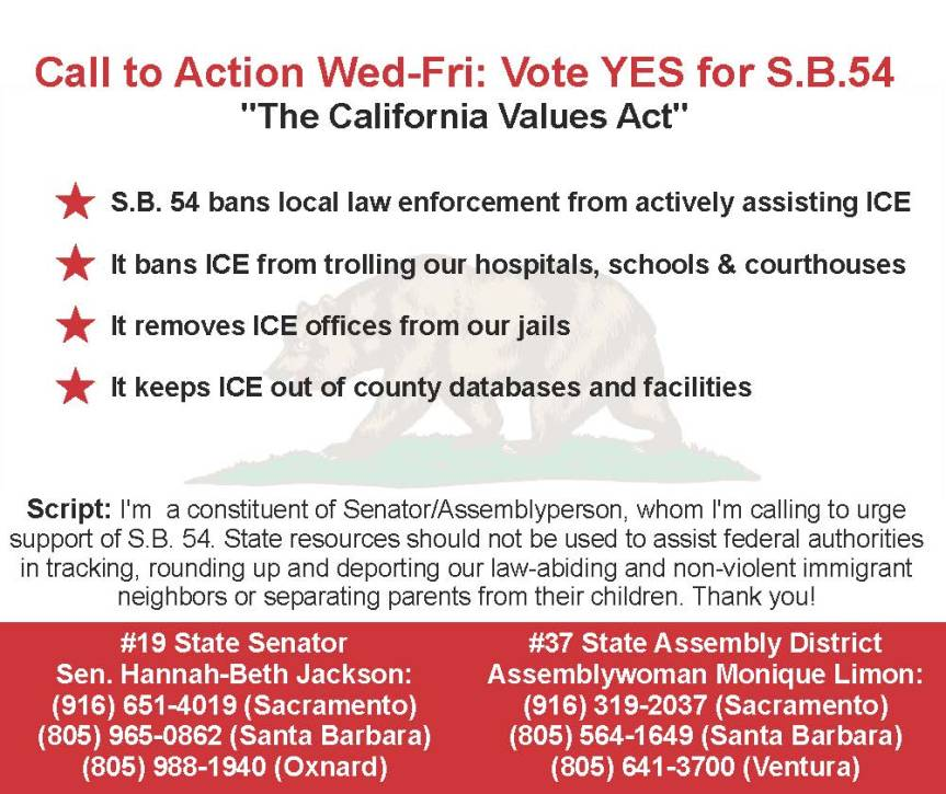 Vote Yes on S.B. 54 – Keep ICE from Our Hospitals and Schools! (3 of 3today)