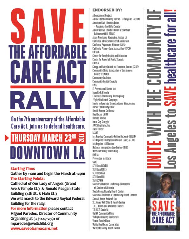 Save the Affordable Care Act Rally in Downtown Los Angeles, March 23