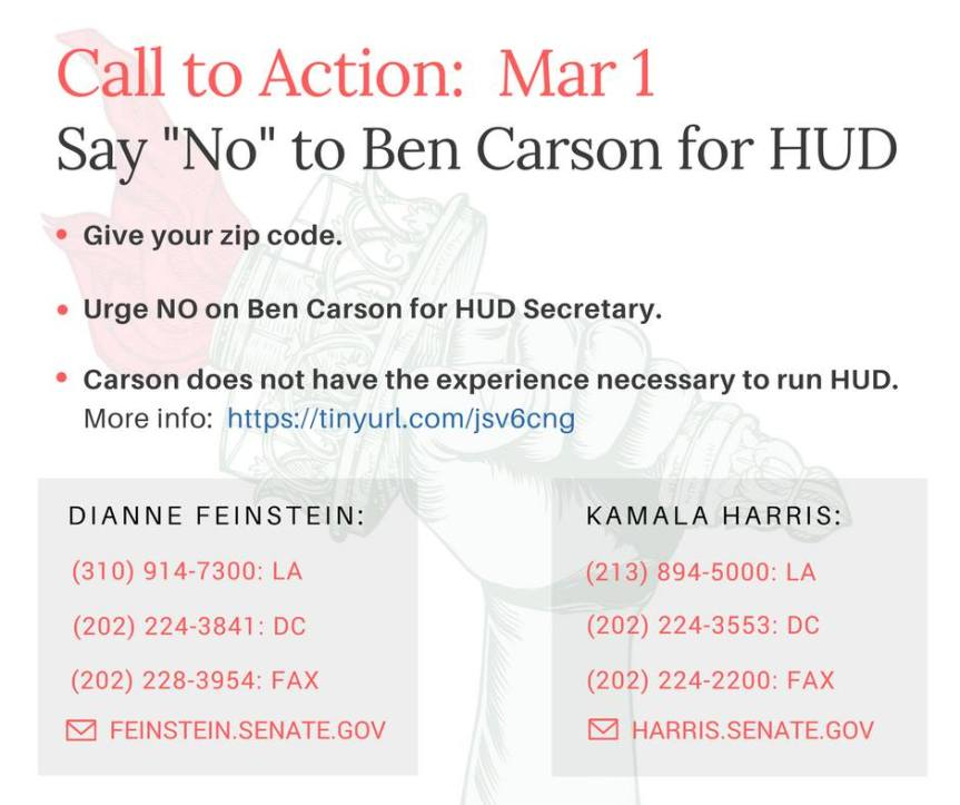 Say No to Ben Carson for HUD