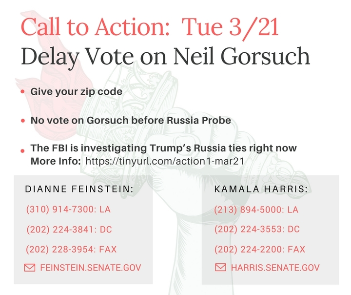 Delay Vote on Gorsuch before Russia Probe – Call our Senators! (1 0f 2)