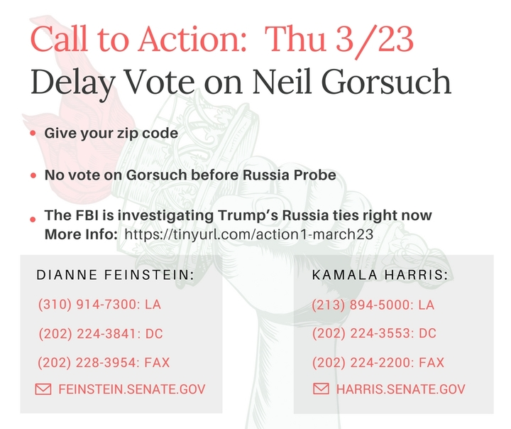 Delay Vote on Neil Gorsuch Until Russia Probe – Call our Senators!