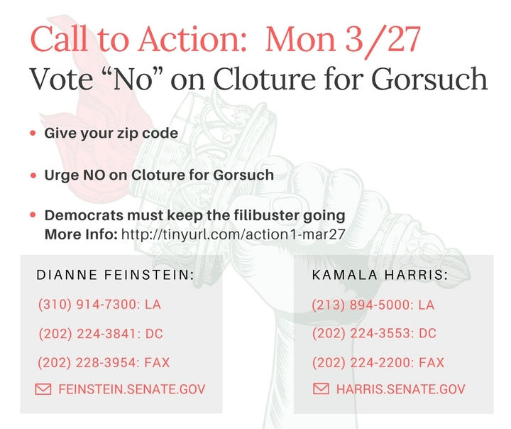 Vote Against Cloture for Gorsuch – Call your Senators! (1 of 2today!)