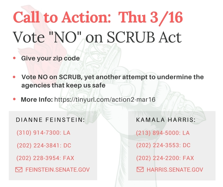 Vote No on SCRUB Act, yet another attempt to undermine the agencies that keep us safe!