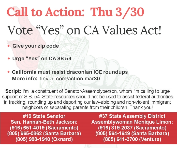 Vote Yes on California Values Act!