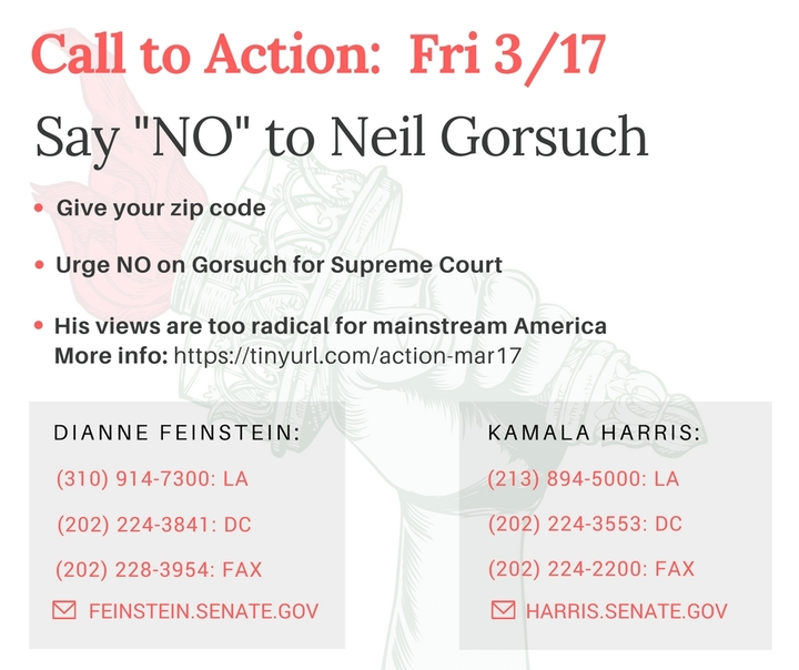 Vote NO on Gorsuch for Supreme Court, the Extremist at the Heart of Hobby Lobby
