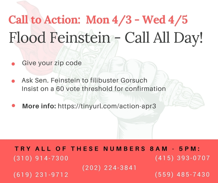 Flood Feinstein to filibuster Gorsuch!