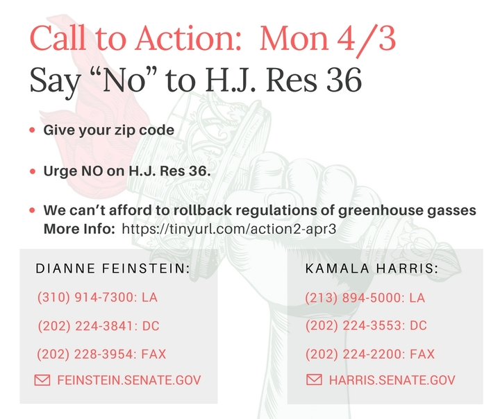 Say No to H.J. Res 36, we can't afford to rollback regulations of greenhouse gasses