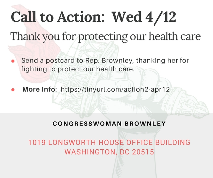 Take a Moment Today to Send Rep. Brownley a Thank You for Holding our Healthcare TownHall