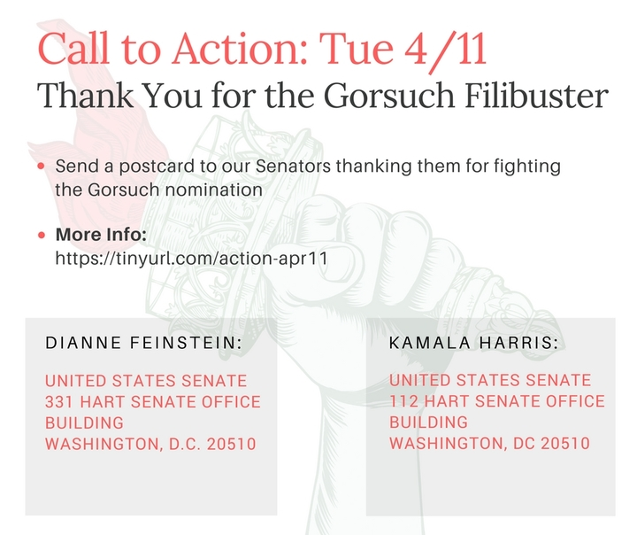 Let's take a moment today to send our Senators some appreciation for standing against Neil Gorsuch