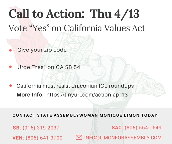 Vote Yes on California Values Act – Stop Draconian ICE Roundups!