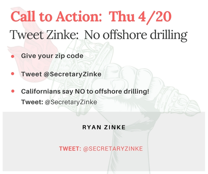 Tweet Interior Secretary Zinke (@SecretaryZinke): No offshore drilling! (1 of2)