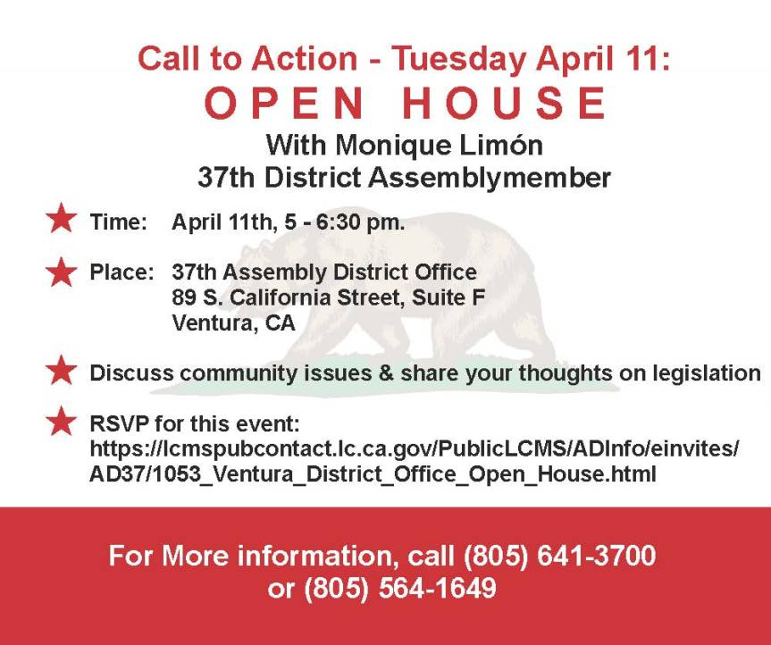 Let's Discuss California Issues with Assemblymember Monique Limón – Open House