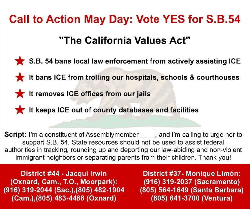 Stand in Solidarity on May Day: Vote Yes on California Sanctuary StateBill!