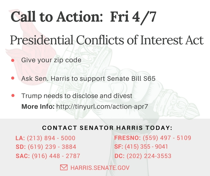 Call Senator Harris and ask her to co-sponsor the Presidential Conflicts of Interest Act