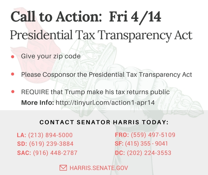 Senators - co-sponsor the Presidential Tax Transparency Act - Show us Trump's Taxes!