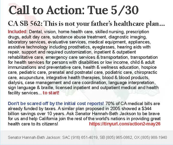 """Call to State Action – """"Yes"""" on the Healthy California Act (SB562)"""