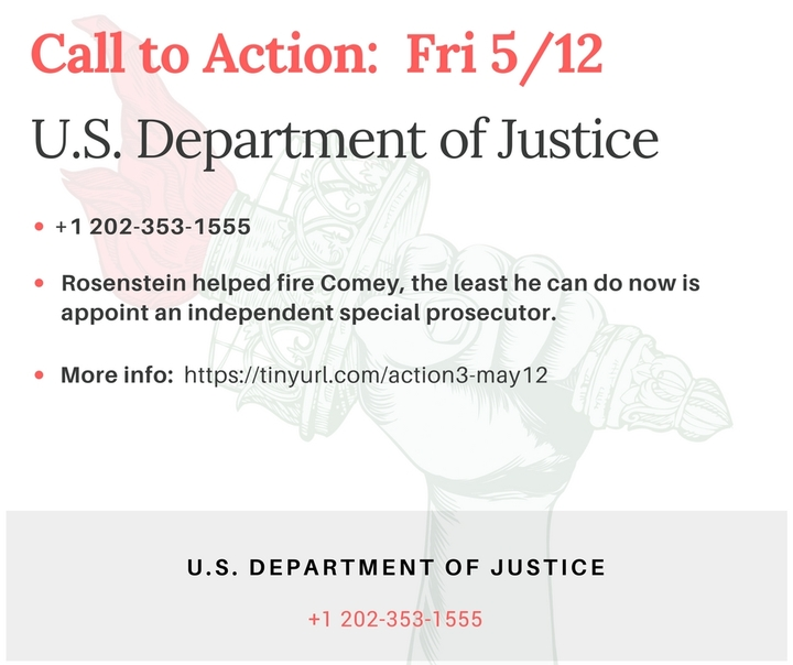 Hey Rosenstein: You Helped Fire Comey, the Least you can do is Appoint a SpecialProsecutor!