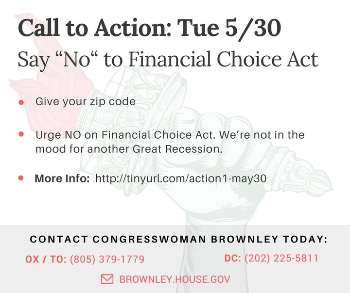 "Vote ""NO"" on the Financial Choice Act. We're not in the mood for another Great Recession!"