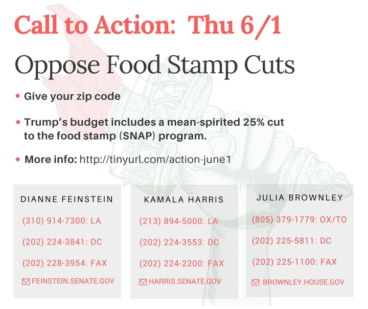 Trump's budget includes a mean-spirited 25% cut to the food stamp (SNAP) program!