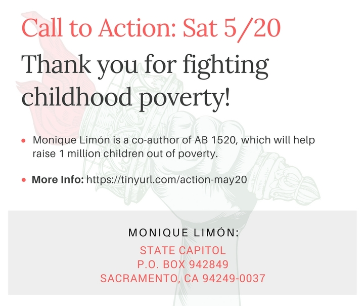 Thank Monique Limón for Fighting Childhood Poverty!