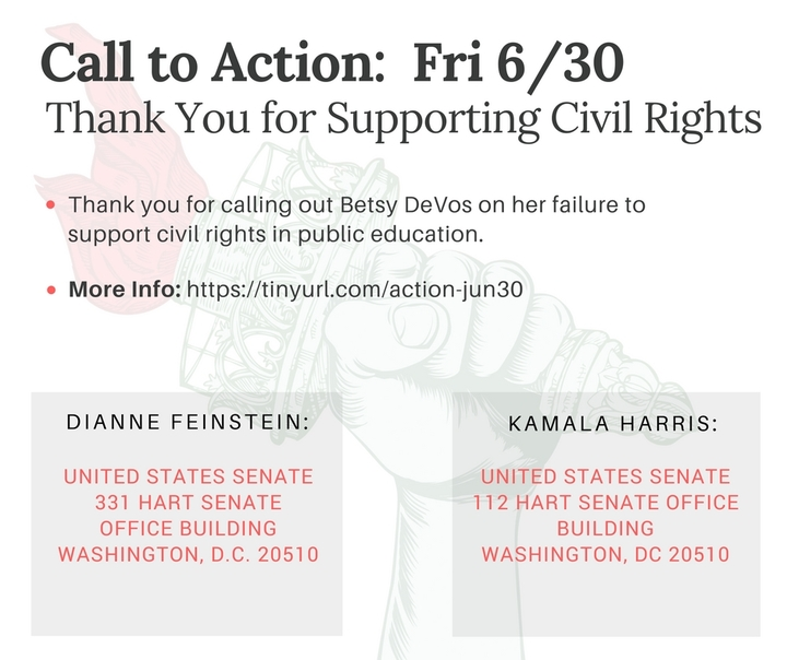 Thank Senators Feinstein and Harris for standing up for civil rights in our schools!