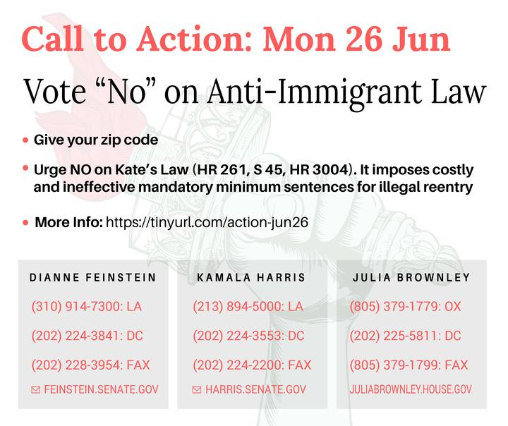 The House is expected to bring the anti-immigrant Kate's Law to a vote this week!