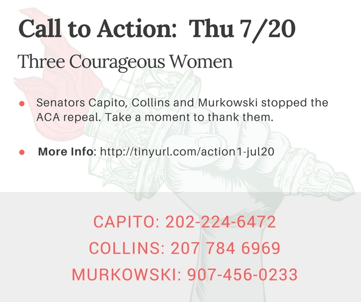 "As Senator Murkowski said, ""She did not come to Washington to hurt people."" Let's thank her."