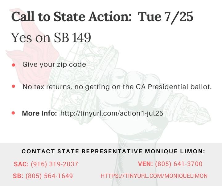 Yes on SB 149. No Tax Returns? No space on the California ballot.SAD!
