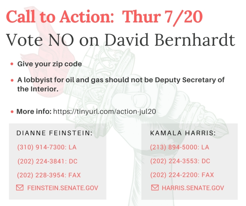 No more swamp creatures.  Vote No on Bernhardt for Deputy Secretary of the Interior