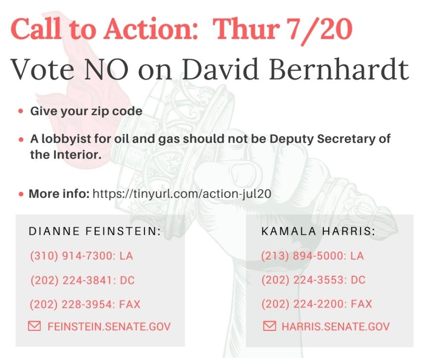No more swamp creatures.  Vote No on Bernhardt for Deputy Secretary of theInterior