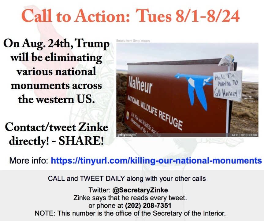 On Aug. 24th, Trump will be eliminating various national monuments across the western US. – Contact/tweet Zinke directly! – SHARE!