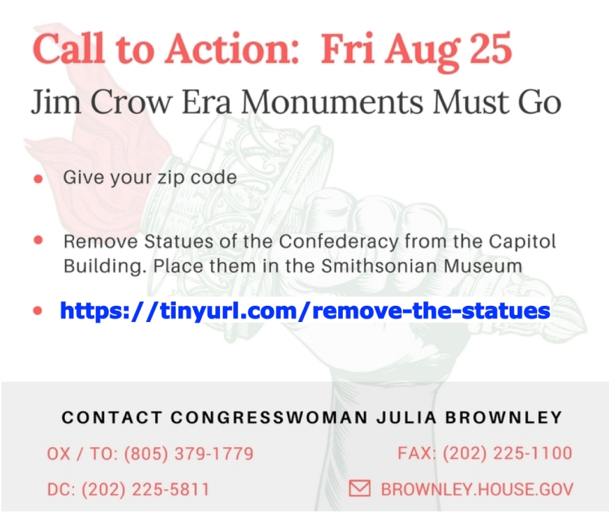 Monuments from the Jim Crow Era Must Go: Remove Statues Celebrating the Confederacy from the Capitol Building – Fri. 8/25