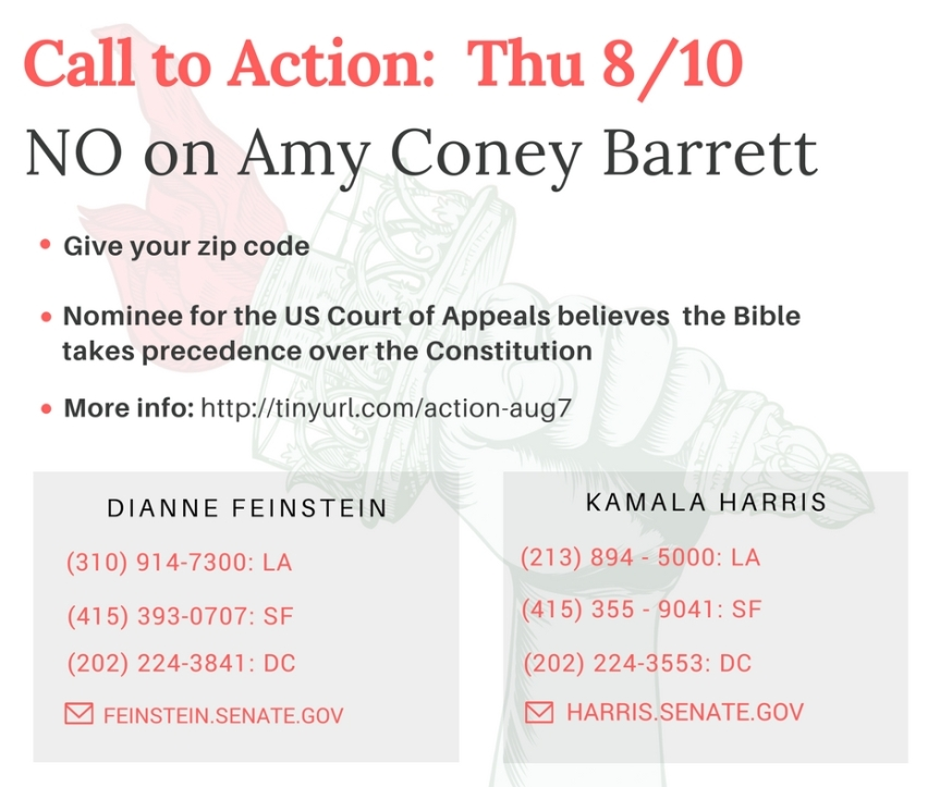 NO on Amy Coney Barrett – Bible over Constitution? Really?