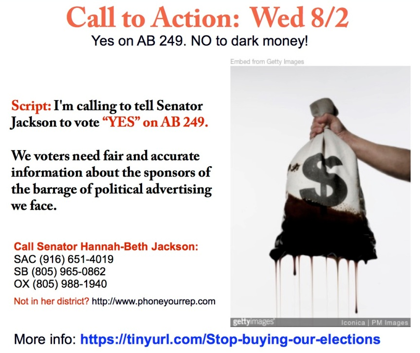 Yes on AB 249. NO to dark money!