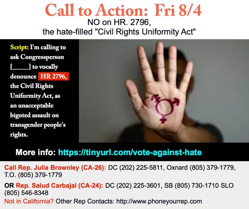 Vote NO on HR 2796, the hate-based Civil Rights Uniformity Act. Transgender rights are human rights!