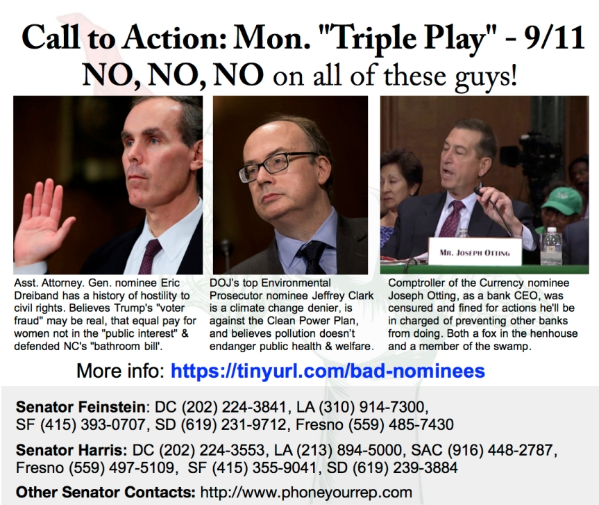 No on Trump Nominees! Monday Triple Play – 9/11