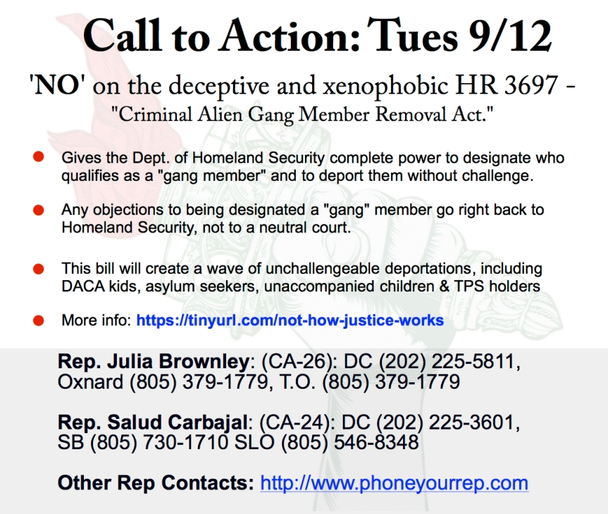 Stop the criminalization and deportation of immigrants who came here for safety. –9/12