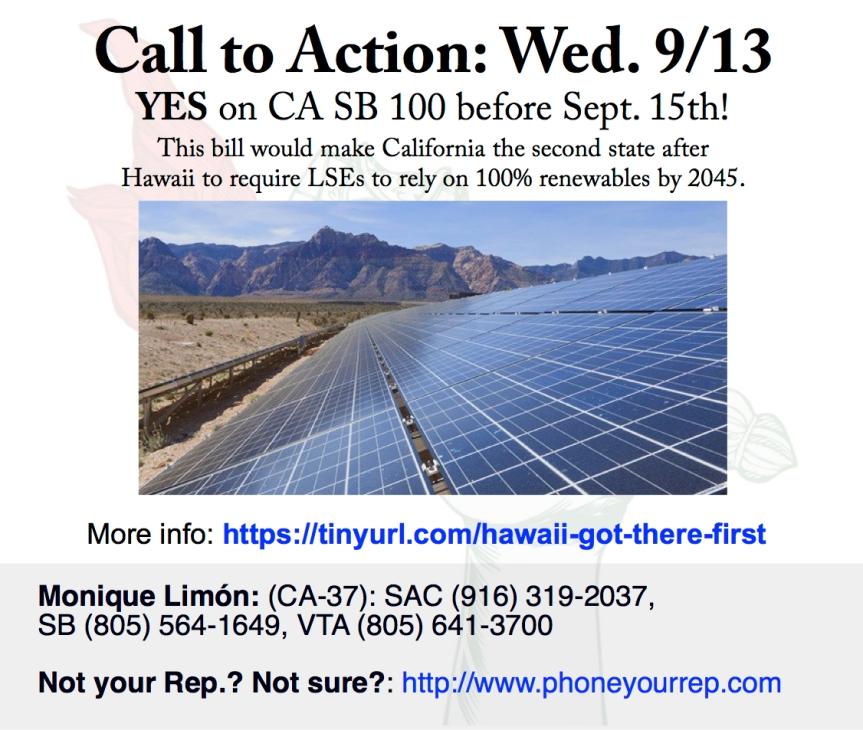 Vote YES on California Renewables Portfolio Standard Program: Emissions of Greenhouse Gases – Wed. 9/13