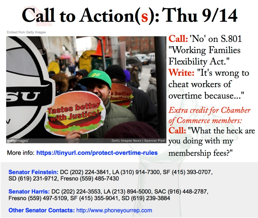 Today's 2-for-1 action. Call and write to  protect overtime pay formillions!