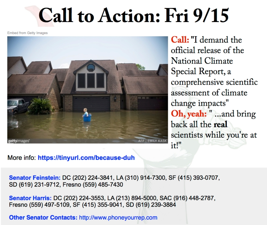 Release the OFFICIAL National Climate Assessment Report/Reinstate the National Climate Advisory Committee because…duh!  9/15