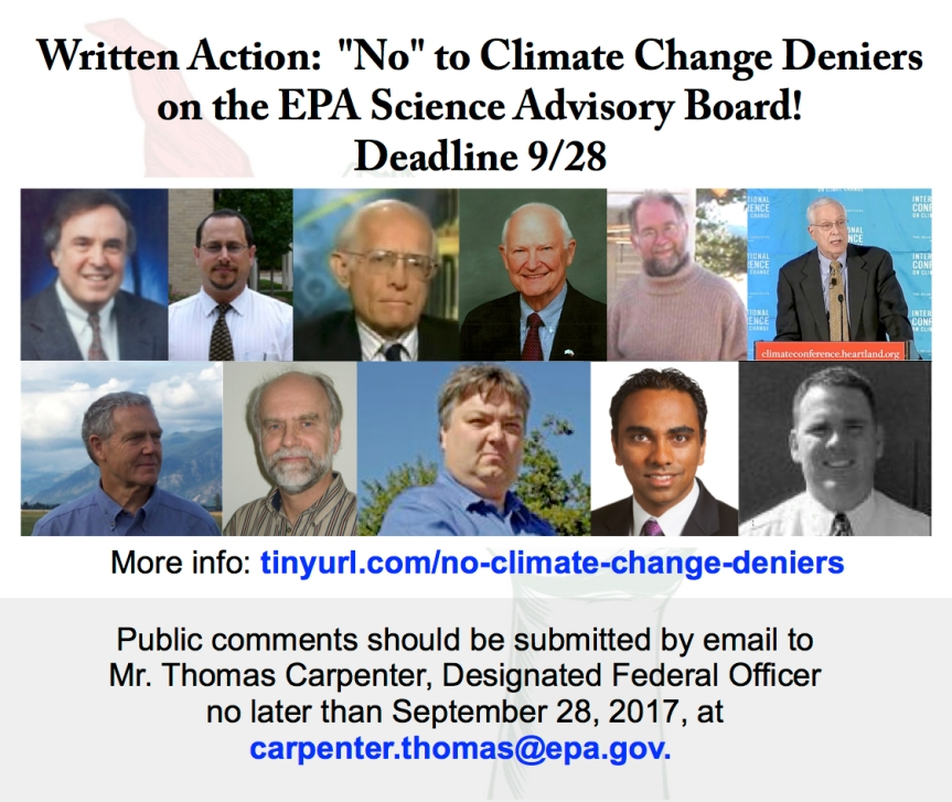 LAST DAY to combat climate change deniers & fossil-fuel-industry shills trying to get on the EPA Science Advisory board! -9/28