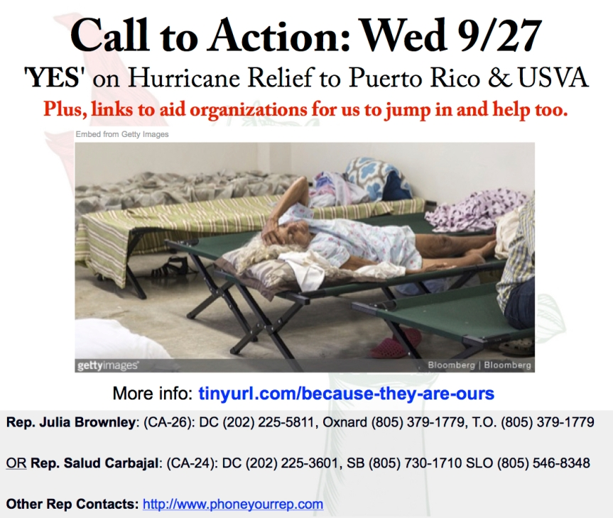 Ask Congress to provide immediate relief for Puerto Rico and the US Virgin Islands. Also things we can do…