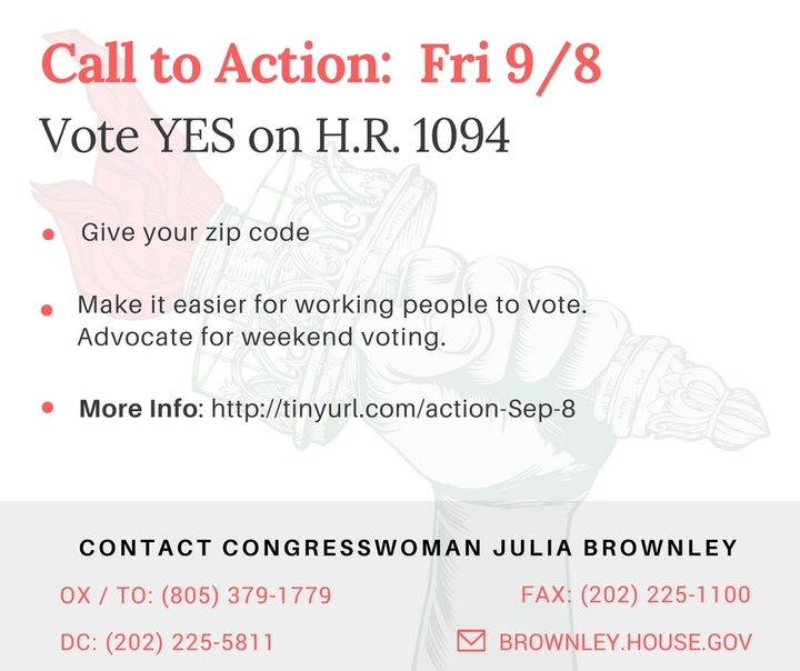 Protect Worker's Voting Rights: Advocate for Weekend Voting. Vote YES on H.R. 1094