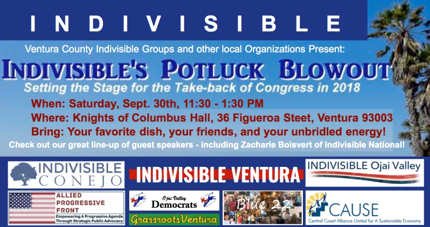 Indivisible's Potluck Blowout – Setting the Stage for the Take-back of Congress in 2018! SpeakersGalore!