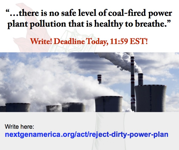 """…there is no safe level of coal-fired power plant pollution that is healthy to breathe."" Write! Deadline Today!"